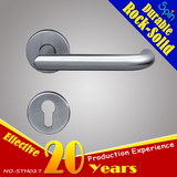 Stainless steel tube door lever handle bends inward like a hook
